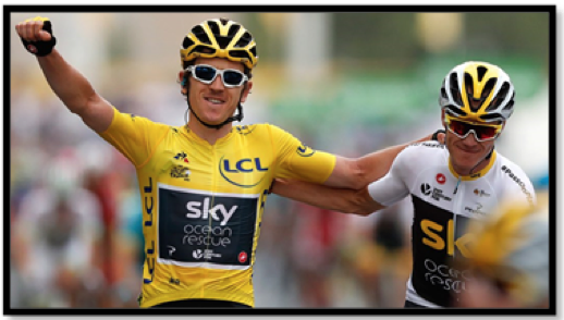 Geraint Thomas, supported by Chris Froome